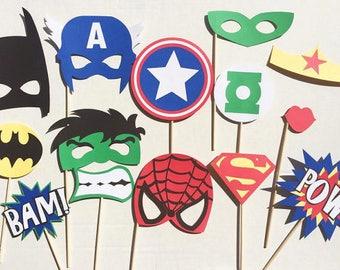 Superhero Photo Booth Props, Superhero Party, Avengers Birthday Party, Avengers Photo Booth Set, Superhero Gift Idea, Avengers Birthday