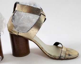 Maison Martin Margiela Paris Strappy Sandal Silver Glitter Leather with Round Chunky Wood Heel Size 40 Made in Italy