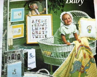 Vintage, 1970s, Leaflet 158, Charted Designs For Your Baby, Cross Stitch Leaflet by Leisure Arts, Great Designs for Easter, OLD2NEWMEMORIES