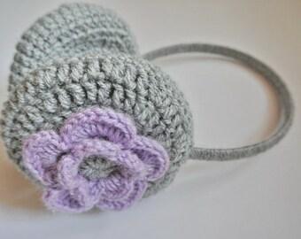 Eearmuffs with flower, Crocheted ear muffs for women