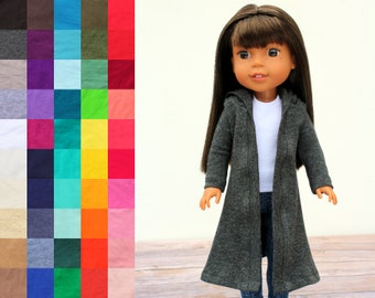 Fits like Wellie Wishers Doll Clothes - Hooded Duster Cardigan, You Choose Color and Sleeve Length   14.5 Inch Doll Clothes