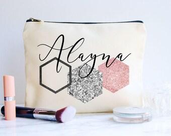 Bridesmaid Gift, Best Friend Gift,Maid of Honor Gift, Personalized Gift, Makeup Bag, Cosmetic Bag, Canvas Bag, Monogram Bag, Geometric Bag