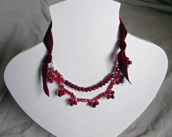 Deep Red Victorian Vintage Style Pearl Necklace, Freshwater Pearl and Crystal Beadwork Necklace, Bridesmaid Gothic Bridal Unique- MARTIKA