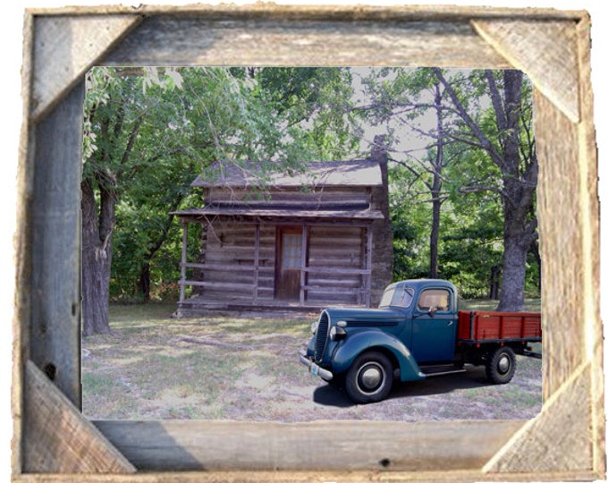 Log Cabin photo taken by me with old truck framed in Rustic, Weathered Wood Picture Frame 8x10