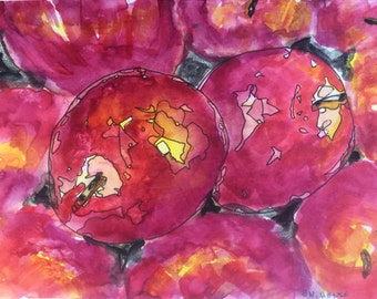 Apples in a Bin Original 5x7 Watercolor & Ink painting by Nan Henke