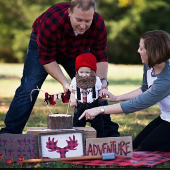 Lumberjack First Birthday Nursery Baby Shower, Baby's First Christmas, Buffalo Plaid, Wild One Boy, Baby Bear, Baby Beard Beanie Hat