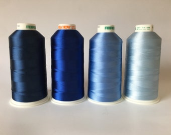 Blue Hue Fibres Thread Cone Rayon Embroidery 5500 Yards 5 inches tall -- Over 200 colors available