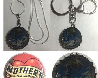 Mother's heart love Soda bottle cap Bee Flowers art nouveau Keychain, Pendant, Necklace