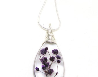 Purple Baby Breath Necklace - Real Flowers Encased in Resin - Pressed Flower Jewelry - Wire Wrapped Pendant - Resin Jewelry - Teardrop shape