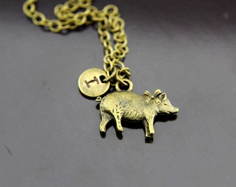 Pig Necklace, Bronze Pig Charm Necklace, Pig Pendants, Pig Charms, Pig Jewelry, Personalized Necklace, Initial Necklace, Initial Charms