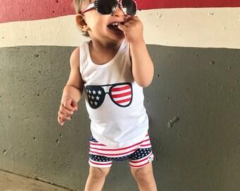 Stars & Stripes (4th of July)  Shirt + Shorties Set
