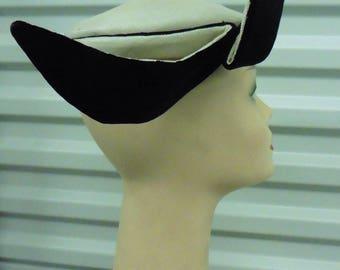 40-50s White straw w/ Black Velvet Head Hugger Hat w/Stand-Up Accents by JJ Haggarty/Laddie Northridge