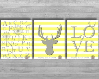 Nursery woodland printable, yellow and gray crib bedding, deer downloadable prints,  instant download, deer, alphabet digital file