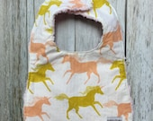 Baby Girl Bib in Peach and Golden Unicorn Fabric - Baby...
