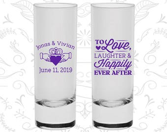 Love Laughter Shooters, Printed Shooter Glasses, Irish Wedding Shooters, Claddagh, Medieval Shooters, Custom Shooters (C446)
