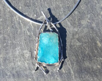 Hemimorphite druzy,Sterling silver pendant,Artisan pendant