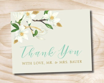Gold Glitter and White Floral Turquoise Wedding Thank You Card Acknowledgment card