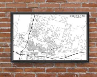 Cheyenne, Wyoming Map Art