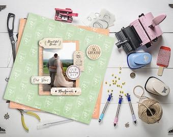 Rustic Elegance Mason Jar Paper Printable 12x12 Digital Scrapbook Supplies