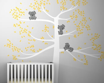 Spring Koala Tree Extra Large Wall Decal by LittleLion Studio - Sunshine Yellow