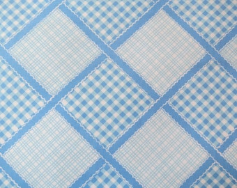 Half Yard of Vintage Sheet Fabric - Blue Gingham Plaid - 1/2 yd