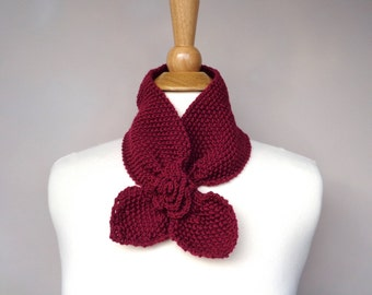 Ascot Scarf with Rose Flower, Cranberry Red, Merino Wool, Pull Through Keyhole Scarf, Small Neck Scarf, Hand Knit Neck Warmer
