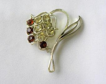 Unique rhinestone brooch, large flower rhinestone brooch, huge rhinestone brooch, unique flower brooch, unique vintage brooch, statement