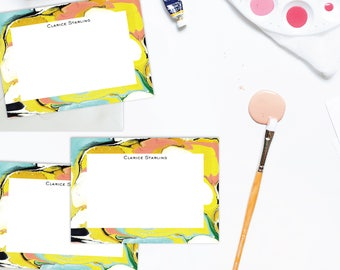 Psychedelic Marble Custom Stationery / Flat Notes -Set (10) / A7 Size