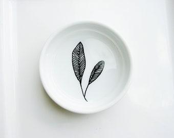 Leaf Doodle Bowl, Art Ring Dish, Desk Organizer, Jewelry Dish, Ring Bowl, Botanical, Twig & Cone, Unique Gift Idea, Jewelry Tray