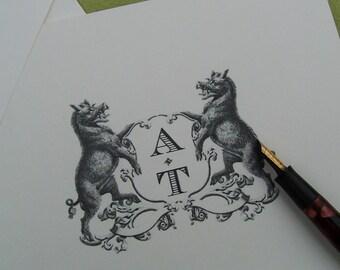Boar Personalized Notecards Heraldic Crest Vintage Inspired Stationery Antique Monogram Ivory Note Cards set of 10 Wild Pig Razorback Hog