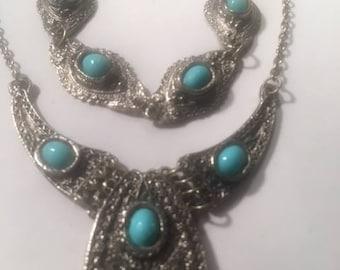 Vintage Heavy Pewter Silver Tone Faux Turquoise Choker Necklace Bracelet