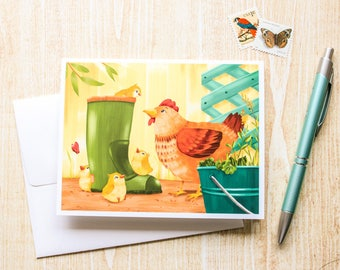 Mama Chicken and Baby Chicks Greeting Card, Blank Card - Cute Card - Animal Card - Just Because - Any Occasion - Illustrated