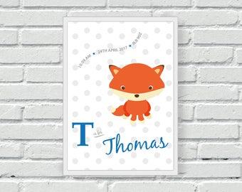 Fox nursery wall print, personalised baby wall art, new baby, baby shower, gift, children's print, nursery print, wall decor, home decor,