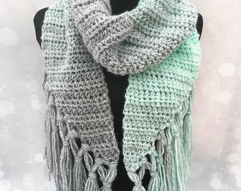 Mint-cicle Crochet Modern Scarf PDF Pattern Printable
