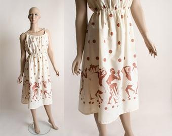 Vintage Africa Print Dress - 1970s Novelty Print Summer Dress - Small Medium