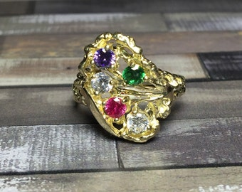 10k solid gold Ladies ring - ladies birthstone rings - birthstone jewelry - jewelry - Gifts for mom