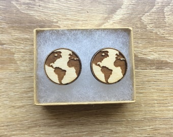 Planet earth wood earrings, wood stud earrings, earth earrings, planet earrings, world earrings
