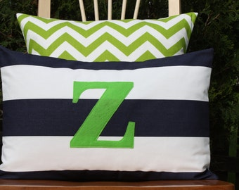 Monogrammed Lumbar Pillow Cover - Navy and White Stripe with Lime Green Monogram - Horizontal Stripes