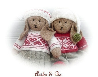 2 Bunny Toy PDF Knitting Patterns/ Anika & Bo/ Lapland Visitors/ Rabbits Plus FREE Handmade Shoes Knitting Pattern/ INSTANT Download