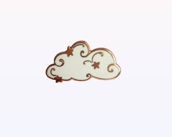 Starry Cloud Enamel Pin / White & Rose Gold, Minimalist Enamel Pin, Celestial Pin, Rose Gold Enamel Pin
