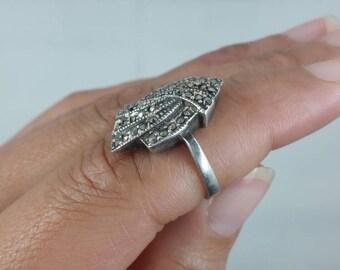 Vintage Hematite Sterling Silver Ring