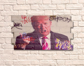 Industrial Donald Trump No Frame Brick Wall Graffiti Style Artwork Art Steampunk 3D Ceramic Brick Panels. Wall Hanging Kit Supplied. UK MADE