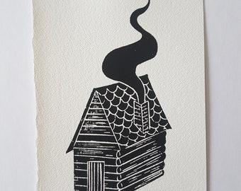 Log Cabin lino print, woodland home, wooden house lino, chimney smoke, autumn holiday home, linoleum art print, artist illustration