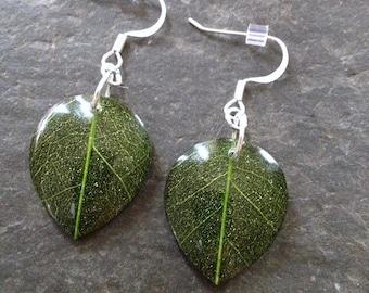 Green Leaf Earrings, Resin Leaf Earrings, Nature Earrings