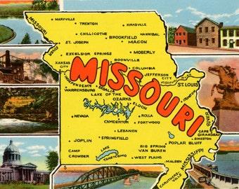 Missouri State Map Lake Taneycomo Hannibal Vintage Postcard (unused)