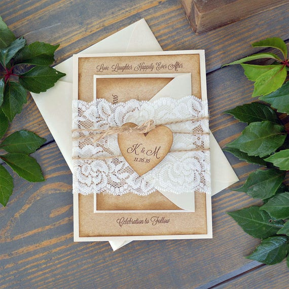 KATI - Burlap & Lace Wedding Invitation - Rustic Country Invitation with Ivory Lace Wrap and Kraft Heart - Lace Belly Band - Antiqued Edges