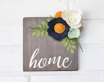 Felt Flowers Wooden Sign, Floral Sign Home in White, White Home Wooden Sign, Wall Decor Home, Wall Hanging Sign, Felt Flower Sign, Wreath