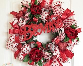 Be Mine Valentine's Wreath, Valentine's Day Wreath, Valentine's Evergreen Wreath, Lighted Wreath