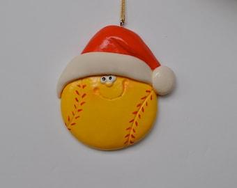 Personalized Softball Christmas Ornament