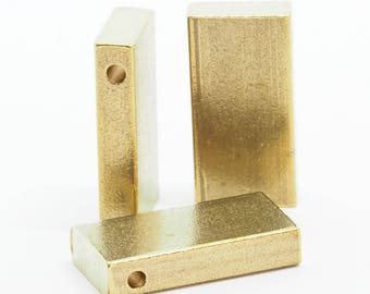 "Raw Brass  stamping 4 pcs D32 10 x 20 x 4 mm 0,39"" x 0.79"" x 0,16""  finding rod industrial design (2 mm  0,08"" 12 gauge hole ) 1724"